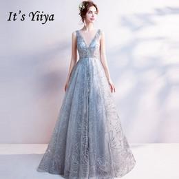 Designer-club-beleuchtung online-Es ist Yiiya Light Grey V-Ausschnitt Luxus Abendkleider Bling Pailletten bodenlangen berühmten Designer Party Formal Dress LX264