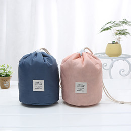 cosmetic wash bags wholesale Coupons - Travel Makeup Drawstring Pouch Bucket Barrel Shaped Cosmetic Case Bag Organizer Storage Bags Elegant Drum Wash Bags OOA6310
