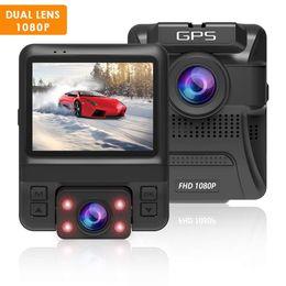 2019 sensor g incorporado Cámara DVR Dash de 1080P para automóvil con doble lente 170 ° gran angular, GPS incorporado, Sony Sensor, G-Sensor, grabación en bucle, visión nocturna, guardia de estacionamiento para automóviles rebajas sensor g incorporado