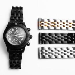 Bandas de reloj sólido online-YQ Hight Quelity Bandas de reloj pulsera 22 24 mm Mens Silver Solid correa de reloj de acero inoxidable Correas de reloj de moda accesorios para Breitling