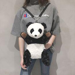 Piccolo panda panda online-Zaino femminile peluche panda peloso cartone animato carino zaino multifunzione cartone animato piccoli mini zaini per bambini