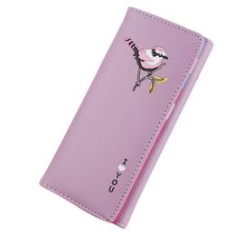 LKEEP Vintage Karikatür Kuş Baskılı Kadınlar PU Deri Uzun Cüzdan Para Çanta Para Çanta Kız Kartları KIMLIK Tutucu Cluthes Çanta cheap birds for cards nereden kuşlar için kartlar tedarikçiler