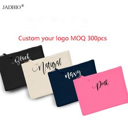 wholesale custom pouch cosmetic bag Promo Codes - 300pcs lot custom logo personalized Cotton Canvas Travel Toiletry Bag Cotton Cosmetic Bag Makeup Pouch Gold Zipper