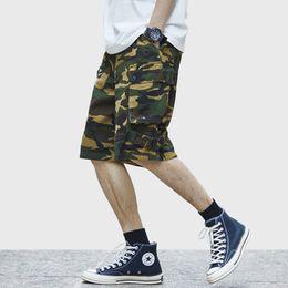 pantalones cortos del camuflaje del mens Rebajas 2019 Hip Hop Cargo Camo Corto Hombre Harajuku Corto Joggers Streetwear Tatical Militar Bolsillo Lateral Algodón Casual Corto Camuflaje