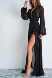 Traje de baño kimono online-Verano de las mujeres Sexy Cardigan suelto Sexy Lencería Sheer Kimono Robe traje de baño encubrir largo maxi gasa