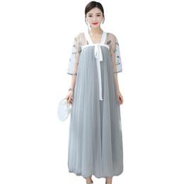 trajes de fada Desconto Estilo chinês verão vestido longo mulheres ásia vestido original retro fada elegante melhoria hanfu traje