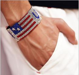 Pulseras patriotas online-American Patriotic Flag Pulseras Diamond Tennis Men Charm Bracelet Moda Patriotic Wristband Pulseras chapadas en oro Pulsera Hip Hop