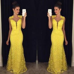concurso de ropas Rebajas Vestidos de noche de encaje completo Sirena larga 2019 Nueva formal Robe De Soiree Vestidos de fiesta largos y amarillos Vestidos de desfile