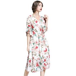 vestido corto de gasa casual Rebajas Verano Mujeres Gasa Boutique Vestidos estampados Patrón floral Manga corta Cuello en V Gasa casual Vestido bohemio de talla grande Ropa de verano