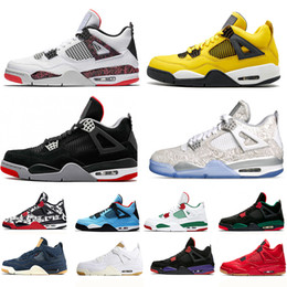 848fd500790a 4 4s Travis Scotts Mens Basketball Shoes Newst Bred Tattoo Hot Lava  Lightning Kaws Black Cat Black Gum Fire Red men sneakers lightning shoes on  sale