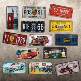 Roupas de compras grátis on-line-Navio livre Europeu número do Vintage placa de ferro artesanato pintura de metal bar pub loja de roupas decoração fotos cafés loja de café mural 10 pcs