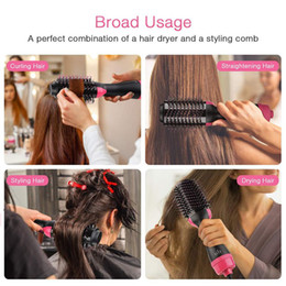 straightener combs Promo Codes - 3 In 1 Hair Dryer Brush And Volumizer Blow Straightener Combs Electric Hair Curler Combs Multifunctional Hot-Air Hair Brush