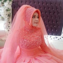 turquía vestidos de novia rojo Rebajas Vestidos de novia de Turquía de manga larga Cuentas de perlas Vestido de novia rosa musulmán rojo Vestidos de novia Hijab Ruched Robes De Maraige