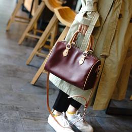 bolsos de cuero simples Rebajas Europa y el simple color de contraste primera capa de cuero bolso de la almohadilla de Boston bolsos de cuero salvaje del bolso de hombro Estados Unidos