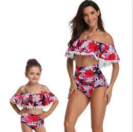 f5a4953ed8c Discount family swimwear - Mother and Daughter Tassel Ball Swimwear 2019  Summer Ruffle High Waist Two