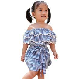 Девушки одеваются с плеча онлайн-Girls Summer 2019 Dress Party Sleeveless Off Shoulder Lace Kids Dresses For Girls Princess Children Dress Baby Girl Clothes