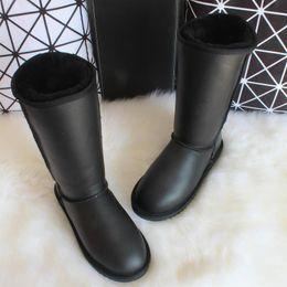 schaffell stiefel knie hoch Rabatt Winter-Knie-hohe Schnee-Aufladungen Australien-Schaffell Boots Woll-Schaf-Pelz-echtes Leder-Frauen Lange