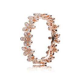 conjunto de jóias de prata e rosa Desconto 18 K Rose gold Daisy Flor anéis de casamento conjuntos de Caixa Original para Pandora 925 Sterling Silver designer de luxo jóias mulheres anéis