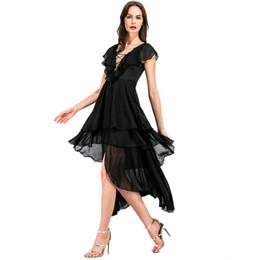 f9f481c0422 Robe De Cocktail Pour Femmes Sexy Profonde Col En V Hi-lo Noir En Mousseline  De Soie Asymétrique Party Bal Soirée Dîner Robes 8233