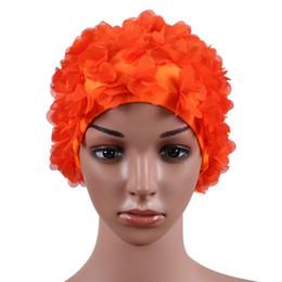 Gorro de pelo de nylon online-Mujeres que nadan gorra de nylon para cabello largo tridimensional pétalos de flores lLadies gorra de natación bthi