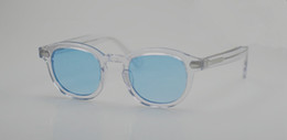 Синий хрустальные бокалы онлайн-Новый Джонни Депп кристалл-оправа прозрачного синего очки HD UV400 объектив пляж праздник очки L M S размеры полного набором случай выход OEM