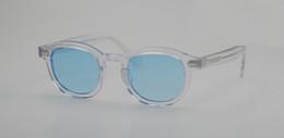 Blaue kristallgläser online-Neueste Johnny Depp Kristall-rim transparente blaue Sonnenbrille HD UV400 Objektiv Strand Urlaub Gläser L M S Größen Voll gesetzt Fall OEM Auslass