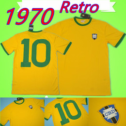 Бразильская желтая майка онлайн-# 10 Пеле 1970 чемпионат мира по футболу Бразилия ретро футбол Джерси Винтаж классический отметить античная коллекция 70 футболку домой желтый futebol