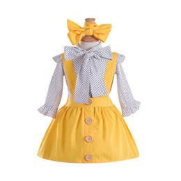 vestidos da camiseta da luva longa da criança Desconto Crianças 3 Peças Criança Infantil Do Bebê Meninas Dot Imprimir manga longa Tops T Camisa amarela Strap vestidos com headband