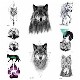 Arte do mal on-line-Preto Feroz Lobo Mau Tatuagem Temporária Adesivos Body Art Desenho Tatuagem Mulheres Geométrica Lua Homens Tatoos Falsos Seta Fox Lua