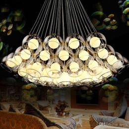 2019 pendentif suspendu Lustre en verre moderne d'art de boule de la lumière pendante menée 3 ~ 37 pour la barre de salon AC85-265V G4 lustres ampoule accrochant la lampe pendante en verre pendentif suspendu pas cher
