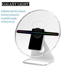 Hd реклама онлайн-ФАБРИКА 30 СМ 256 светодиодов Встроенный аккумулятор HD Настольная подставка Реклама Спиннинг-дисплей игрока голограмма Голографический 3D светодиодный вентилятор с крышкой