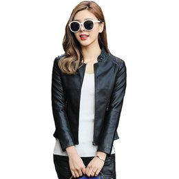 black leather pics Promo Codes - Free shipping real pic New designer Real Leather zipper Jacket Women female lady Spring-Autumn Sheepskin top quality Coat