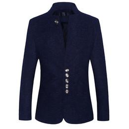 Costume Décontracté Debout Col Hommes Blazer Veste Blazers simple boutonnage Hommes Costumes Slim fit Bleu Noir blazer masculino ? partir de fabricateur