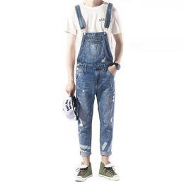 6b8dc615b65fe 2018 New Fashion Brand jeans Spring trend Bib Male Korean Slim Siamese  Cowboy Suspenders Japanese Feet jeans Size M L XL -XXL