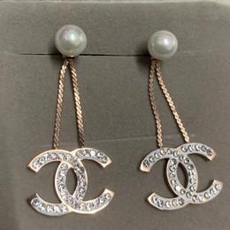 brincos pendentes para mulheres Desconto Nova marca de luxo design de moda rosa de ouro cheia de diamantes pérola dangle gota Brinco Jóias para Mulheres Presente de noivado de Casamento Frete Grátis