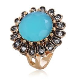 Anel de rubi verde on-line-anéis de flores pedra preciosa Atacado-para designer de mulheres de luxo transporte livre azul verde vermelho preto jóia anel de rubi declaração de jóias