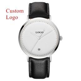 2019 oem relógio homens O relógio feito sob encomenda CL026 da venda por atacado gravou o relógio de pulso simples do desenhista do OEM dos relógios do branco para homens desconto oem relógio homens
