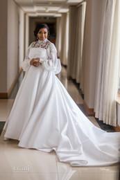 Vestidos de novia más tamaño grande online-2019 Nuevo Hihn cuello Poeta vestido de novia de manga larga con lazo grande Vintage Arfican Black Girl Sheer Lace A-line más tamaño vestido de novia