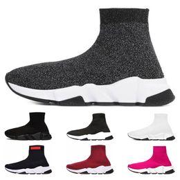 Frauen funkeln schuhstiefel online-Balenciaga Top fashion Speed Trainer Luxury Brand Schuhe rot grau schwarz weiß Flache Klassische Socken Stiefel Turnschuhe Frauen Trainer Läufer