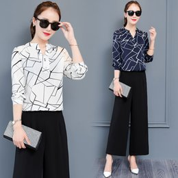 8e6029ffb04 Korean Fashion wide-legged pants suit 2019 new long-sleeved chiffon print  blouse top two-piece clothing set outfit women S-XXL