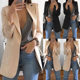 Тонкие женские блейзеры онлайн-Fashion Slim Blazers Women Autumn Suit Jacket Female Work Office Lady Suit Black with Pockets Business Notched Blazer Coat