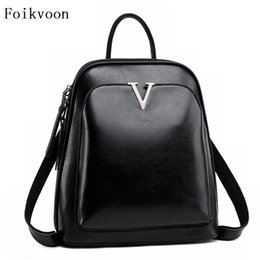 721532f215 Foikvoon Casual Backpack Women Popular College Wind Woman Bags Fashion Cow  Split Leather Designer Backpacks Lady