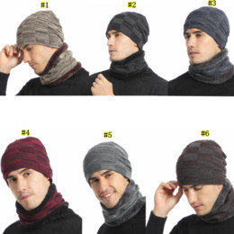 Schal für männer online-Winter Knitting Hat Scarf Set Men Solid Color Warm Cap Scarves Male Winter Outdoor Accessories Hats Scarf 2 Pieces LJJM2367