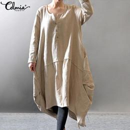 83bb23834313a Celmia Femmes Vintage Chemise Dress 2019 Automne À Manches Longues Robes En  Coton Solide Casual Lâche Asymétrique Midi Robes Plus La Taille robe mi- longue ...
