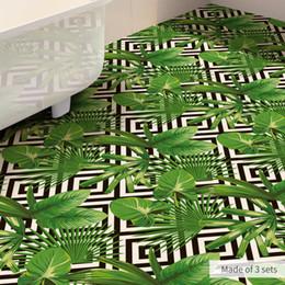 Зеленые листья онлайн-60x120cm Green Banana Leaf Anti-skid Waterproof Sticker Anti Slip Bathroom Kitchen Floor Sticker Pvc Self Adhesive Wallpaper 3d