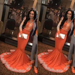 Vestido tamanho laranja on-line-Africano Meninas Negras Sereia Laranja Prom Party Dresses 2019 Manga Comprida Lace Applieque Plus Size Plus Size Vestidos de Noite