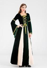 grünes renaissance kleid Rabatt Green Velvet Medieval Renaissance Cosplay Mädchen-LARP-Kleid-Kostüm-Kleid