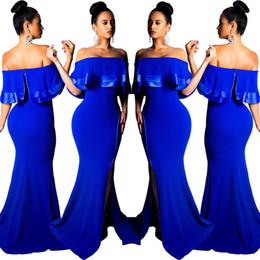 e7db3439ca Royal Blue Mermaid Evening Dresses Sexy Slash Neck Side Split Ruffles Cap  Sleeves Floor Length Elegant Party Dress Real Image 2019 Hot Sale