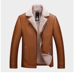 Бархатные куртки xxxl онлайн-PU кожаная куртка мужчины пальто зимняя мода уличная короткие куртки мужские пальто теплый плюс бархат пиджаки 2019 Новый XXXL коричневый