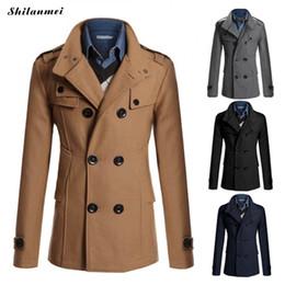 Длинные мужчины верблюжьей шерсти онлайн-Зимние мужские пальто Camel Mid Long Coat Тепловое Black Men Outwear синий воротник отложной Двойной Брестед Повседневная Шинель